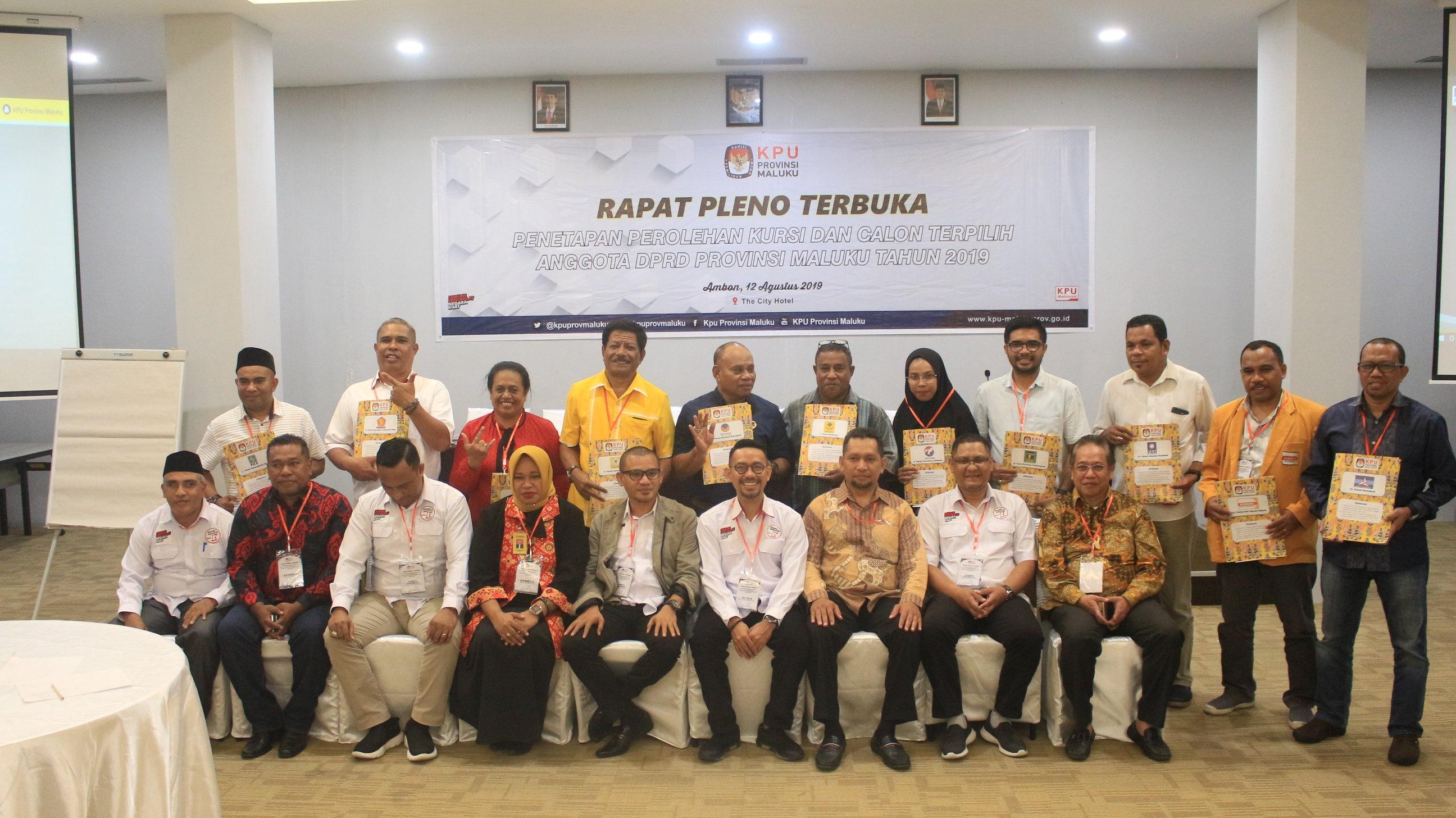 Penetapan Perolehan Kursi Partai Politik Dan Calon Terpilih Anggota DPRD Prov. Maluku Pemilu 2019